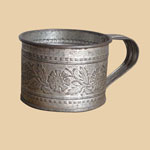 Late 19th C Embossed Tin Cup