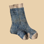 Late 19Th C Indigo/Natural Socks