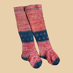 Killer Pair of Late 19th C Red/Blue/Natural Child's Stockings