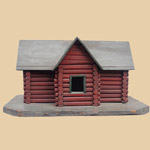 Old Folk Art Log Cabin Birdhouse