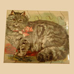 Late 19th C Chromolitho Cat Puzzle