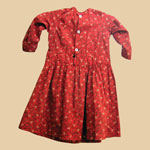 Late 19th C Red/Black Calico Dress