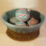 Basket with Red, White and Blue Rag Balls