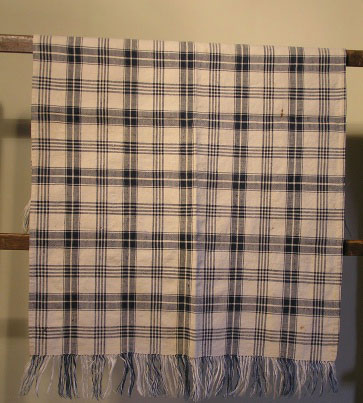 19th C Pennsylvania Homespun Plaid Linen Runner