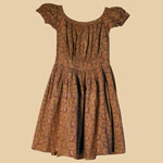 Fabulous 1840's Brown Calico Girl's Dress