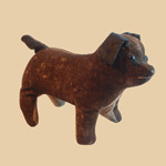 19th C Velvet Dog Rattle