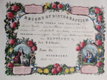 1875 Currier & Ives Baptismal Certificate