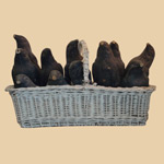 Basket Of Papier Mache Crow Decoys