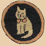 Early 20th C Pennsylvania Cat Hooked Mat