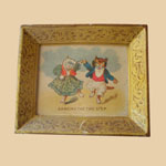 Late 19th C Miniature Tin Litho Tray with Cats